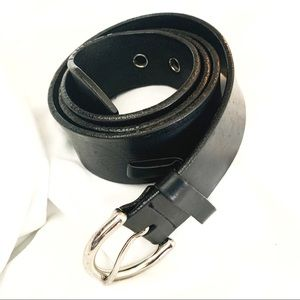 Coach Thick Black Leather Belt Silver Buckle!